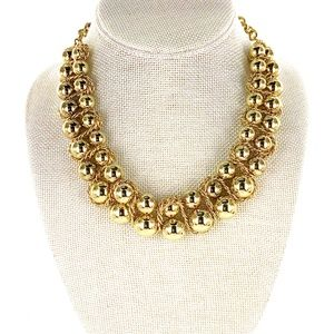 Chico's Statement Necklace Double Row Gold Beads